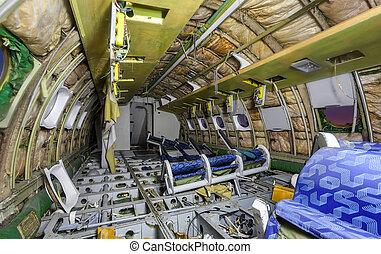 Inside damage airplane cabin