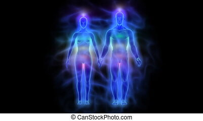 Healing energy, aura and chakras - Animation of woman and...