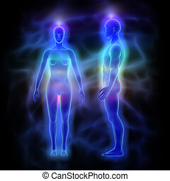 Healing energy, aura and chakras - woman and man -...
