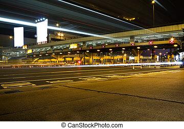 Traffic in Hong Kong at night.