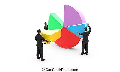 Business men assembling a pie chart - Business men are...
