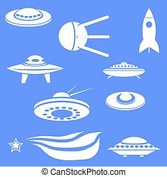 Set of Spaceships Silhouettes