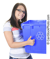 Young woman carrying a plastic container