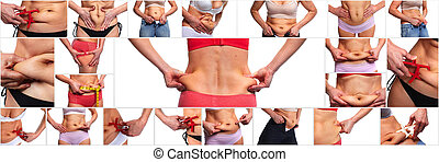 Woman belly fat. Obesity and weight loss concept.