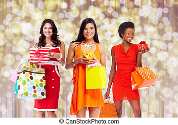 Group of Woman with shopping bags.