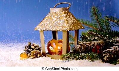 Christmas lantern and snowfall. - Christmas decoration with...