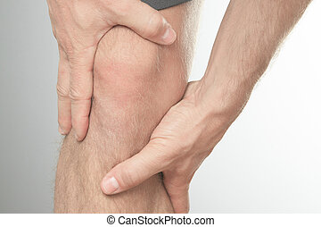 knee cap to show pain and injury - A Man with knee injury on...
