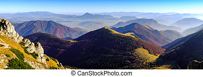 Panoramic landscape view of beautiful autumn mountains,...