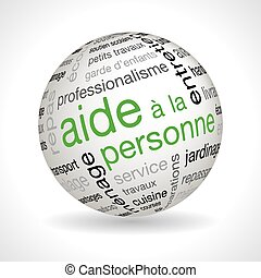 French personnal assistance theme sphere with keywords full...