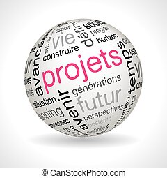 French Projects theme sphere with keywords full vector