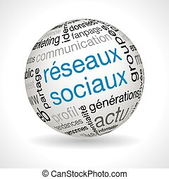 French social network theme sphere with keywords full vector