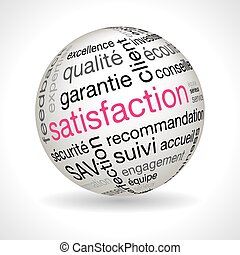 French satisfaction theme sphere with keywords full vector