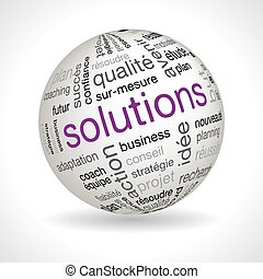 French Solutions theme sphere with keywords full vector