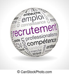 French recruitment theme sphere with keywords - French...