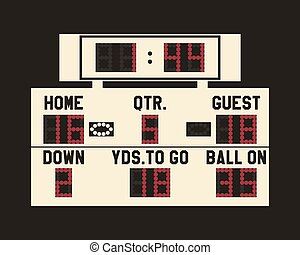 LED american football scoreboard with fully editable data, timer and space for user info. Usa sports board - web, app or print.  Flat stylish design. Vector