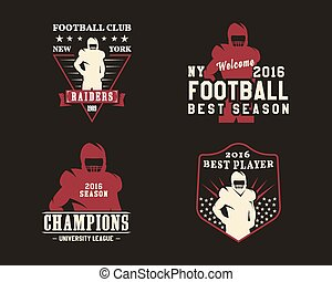 American football player, team badges, championship logos, labels, insignias in retro color style. Graphic vintage design for t-shirt, web. Colorful print isolated on a dark background. Vector