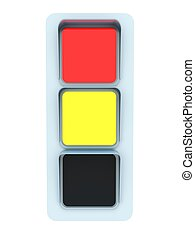 Red and yellow traffic light isolated on white