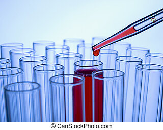 Test tubes and pipette - Close up of test tubes and pipette...