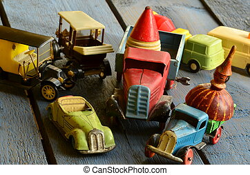 Set of vintage toys - convertible toy car, trucks (lorries)...