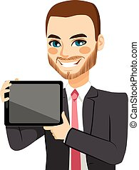 Businessman Displaying Tablet - Attractive businessman...