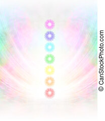 Seven Chakras Background - Symmetrical pastel colored wispy...