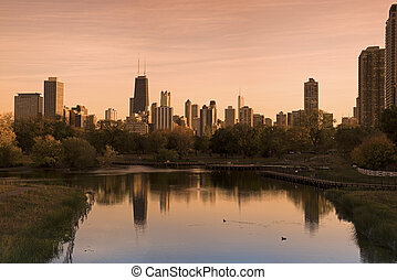 Chicago skyline seen from Lincoln Park