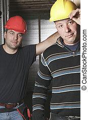 exterior, construção, trabalhando, homens