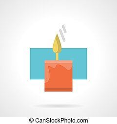 Red Christmas candle flat color vector icon