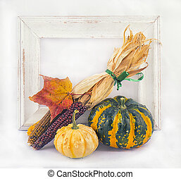 Fall harvest background with pumpkins