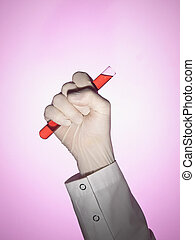 Eureka - A scientist holds a test tube on his fist.