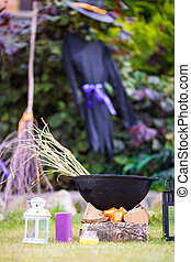 Halloween accessories: pot, hat, broom, candle, garlic and...