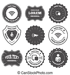 Wifi and chat bubbles Add user, megaphone - Vintage emblems,...