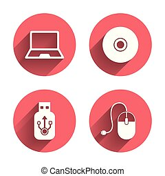 Notebook pc and Usb flash drive stick icons Computer mouse...