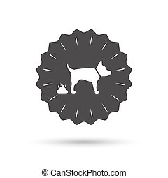 Feces sign icon Clean up after pets symbol - Vintage emblem...