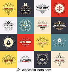 Kosher food product icons. Natural meal symbol. - Vintage...