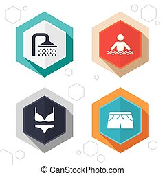 Swimming pool icons Shower and swimwear signs - Hexagon...