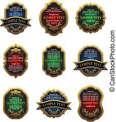 Set of vintage labels - Set of golden vintage labels for...