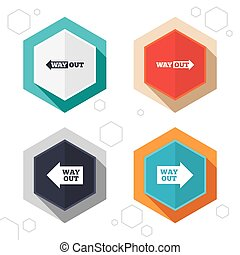 Way out icons Left and right arrows symbols - Hexagon...