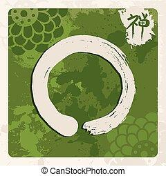 Green zen circle illustration traditional enso - Enso Zen...