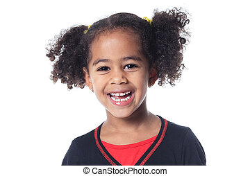 Adorable african little girl with beautiful hairstyle...
