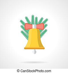 Yellow Xmas handbell flat color vector icon - Yellow...