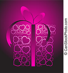 Stylized love present box made from pink hearts (vector)