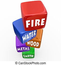 Five Elements Cubes Blocks Wu Xing Philosophy - Five...