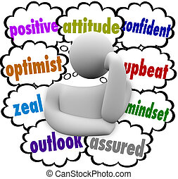 Positive Thought Clouds Person Thinker Good Attitude