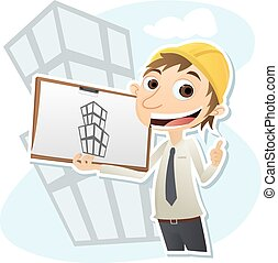 civil engineer - Cartoon smiling civil engineer with...
