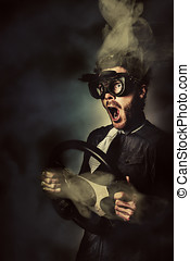 Crazy speed car driver - Funny portrait of a crazy male...