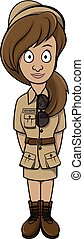Zoo keeper woman cartoon illustration design