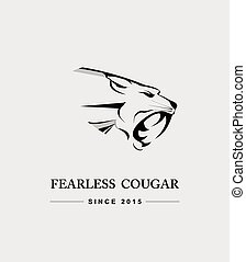 cougar. fearless cougar - Cougar Vector Graphic. Roaring...