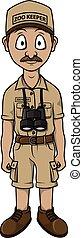 Zoo keeper man cartoon illustration design