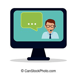 Customer service and call center graphic design, vector...
